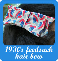 Make a hair bow out of 1930s feedsack fabric