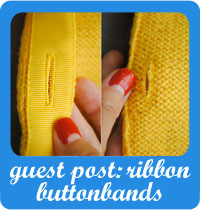 Guest post at Elegant Musings: ribbon buttonbands on a cardigan tutorial