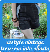 Restyle vintage trousers into shorts tutorial